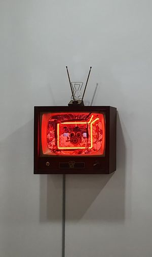 Neon TV - Buttons by Nam June Paik contemporary artwork sculpture, mixed media