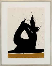 Black Image with Ochre by Robert Motherwell contemporary artwork painting, works on paper, drawing