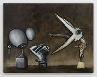 Stone. Brass. Feathers. by Alexandre Singh contemporary artwork painting