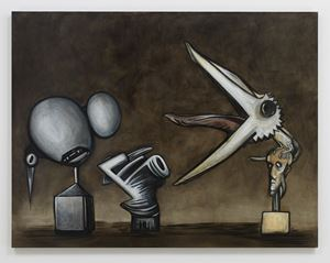 Stone. Brass. Feathers. by Alexandre Singh contemporary artwork
