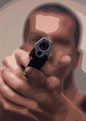 Man with Gun by Christopher Langton contemporary artwork