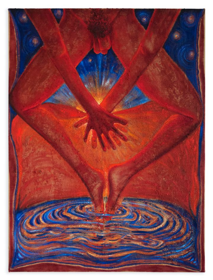 The bottom half of a male figure is cropped to frame their crossed legs, the toes of which are dipped into a pool of water that is seemingly radiating light.