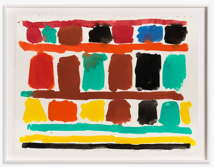 Rounded squares of colour are arranged in lines and delineated with broad strokes of colour, forming an abstract grid.