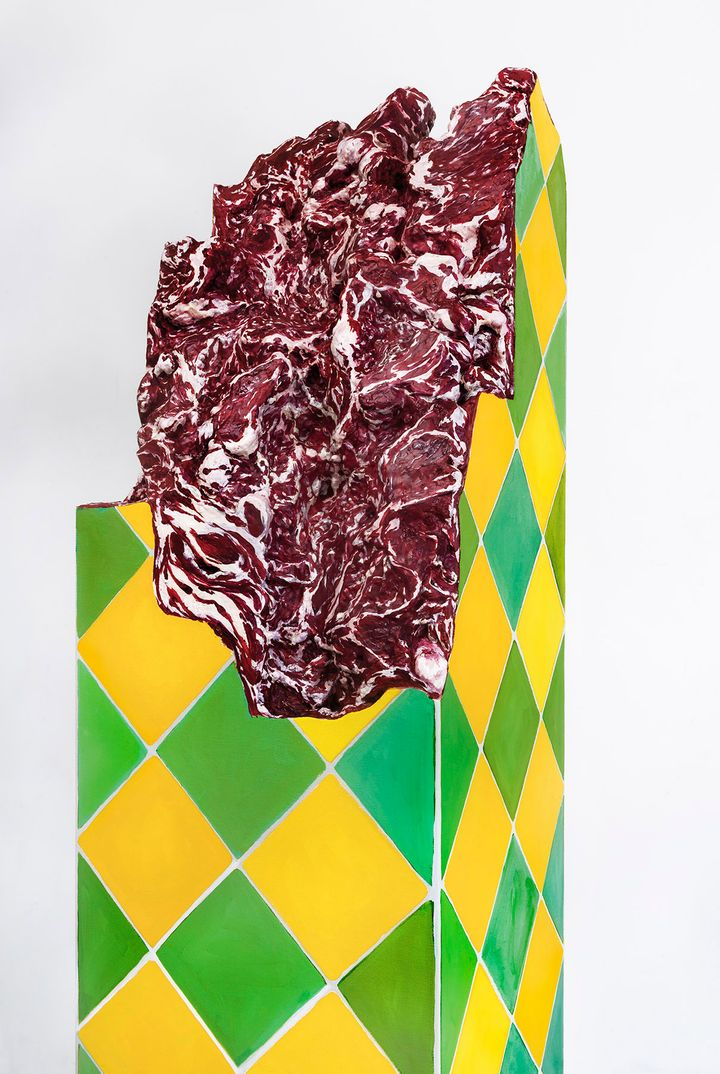 Adriana Varejão, Ruína Brasilis [Brasilis Ruin] (2021). Oil on canvas and polyurethane with aluminium support. 226.1 x 40 x 40 cm. © Adriana Varejão. Courtesy the artist and Gagosian. Photo: Vicente de Mello.