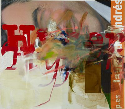 Albert Oehlen, Untitled (2021). Paper, oil, and acrylic on canvas. 270 x 310 cm. © Albert Oehlen. Photo: Simon Vogel.