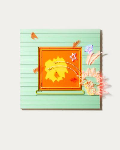 Alex Da Corte, The Big Little Falls (2021). Neon, vinyl siding, laminate, plywood, house paint, velvet, foam, hardware. 182.9 x 182.9 x 16.5 cm. © Alex Da Corte.