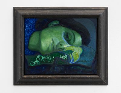 Victor Man, Girl in Love With a Wound (2020–2021). Oil on canvas. 27 x 35 cm.