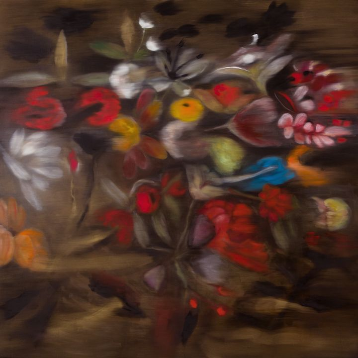 A bouquet of flowers is painted against a brown background and smudged, so that the entire image appears blurred.