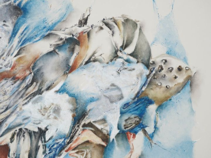 Christine Ay Tjoe, Blue Cryptobiosis #04 (2021) (detail). Oil on canvas. 230 x 200 cm. Courtesy the artist. Photo: White Cube (Kitmin Lee).