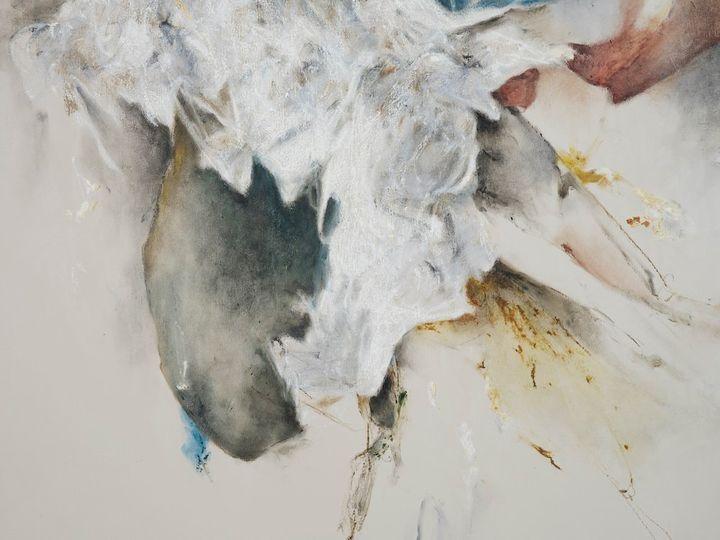 Christine Ay Tjoe, Blue Cryptobiosis #08 (2021) (detail). Oil on canvas. 200 x 170 cm. Courtesy the artist. Photo: White Cube (Kitmin Lee).