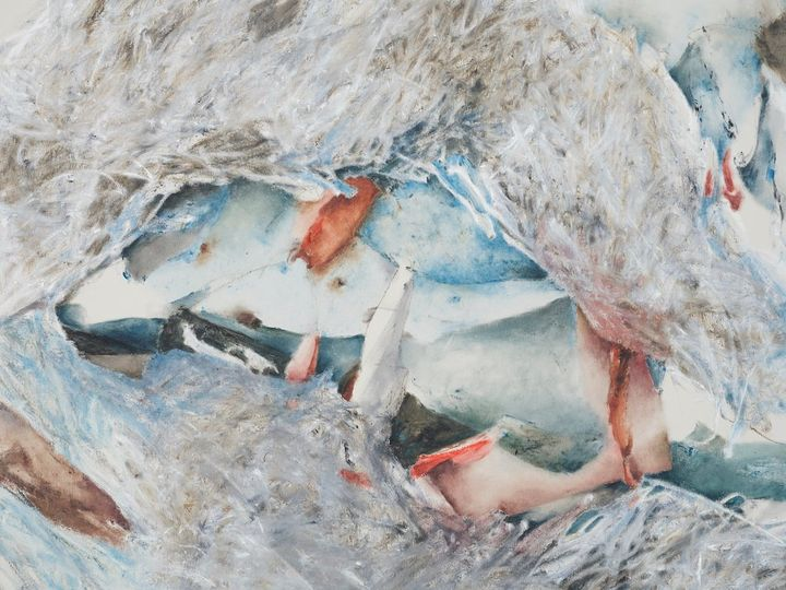 Christine Ay Tjoe, Blue Cryptobiosis #09 (2021) (detail). Oil on canvas. 200 x 170 cm. Courtesy the artist. Photo: White Cube (Kitmin Lee).