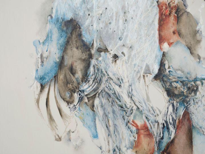 Christine Ay Tjoe, Blue Cryptobiosis #10 (2021) (detail). Oil on canvas. Diptych, each: 200 x 170 cm. Courtesy the artist. Photo: White Cube (Kitmin Lee).