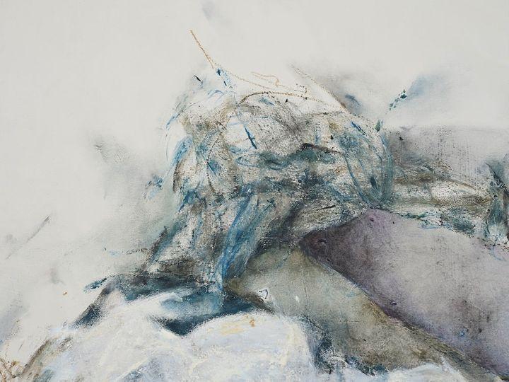 Christine Ay Tjoe, Blue Cryptobiosis #11 (2021) (detail). Oil on canvas. 100 x 80 cm. Courtesy the artist. Photo: White Cube (Kitmin Lee).