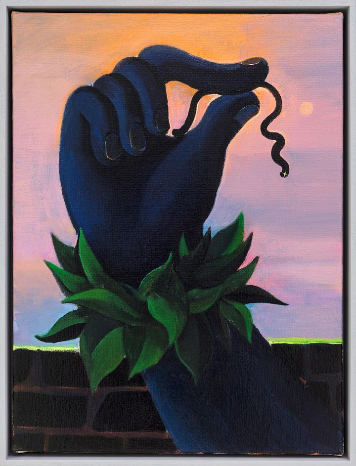 A dark-blue coloured hand with two fingers holding a black hue worm against a pink sunset background, painted by Cai Zebin