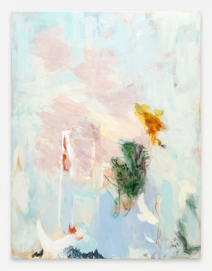 Megan Rooney, Mother's Return (2021). Acrylic and oil stick on canvas. 199.6 x 152.3 x 3.5 cm. Courtesy © Megan Rooney and Thaddaeus Ropac.