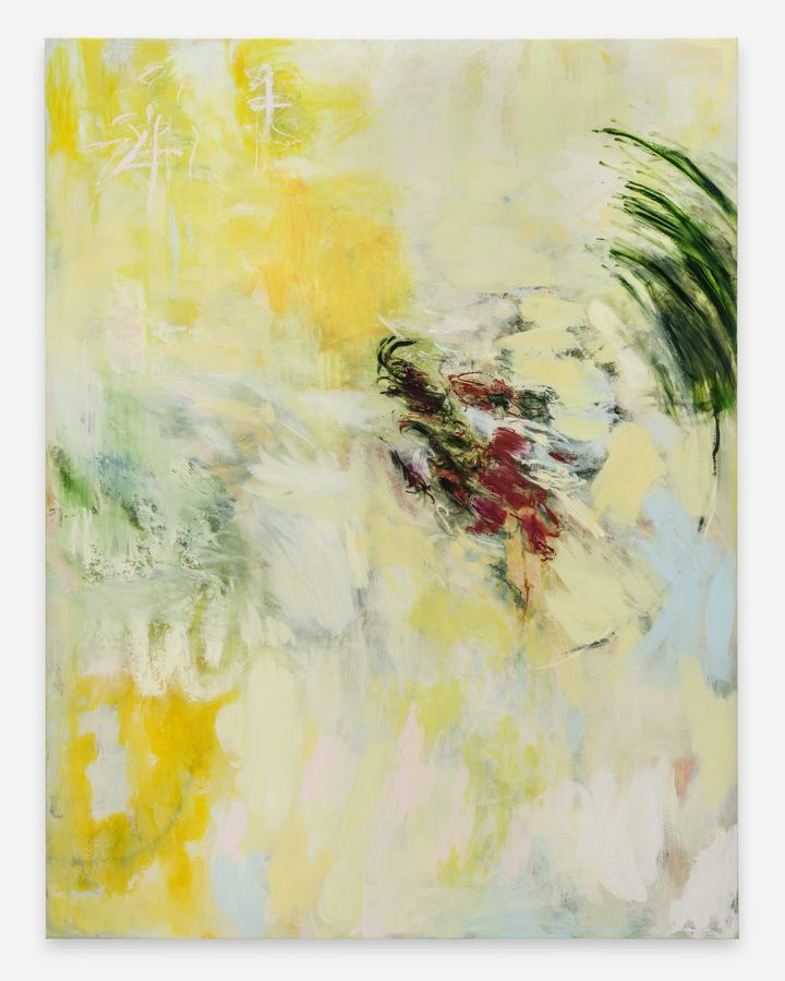 Megan Rooney, 6am (2021). Acrylic and oil stick on canvas. 199.6 x 152.3 x 3.5 cm. Courtesy © Megan Rooney and Thaddaeus Ropac.