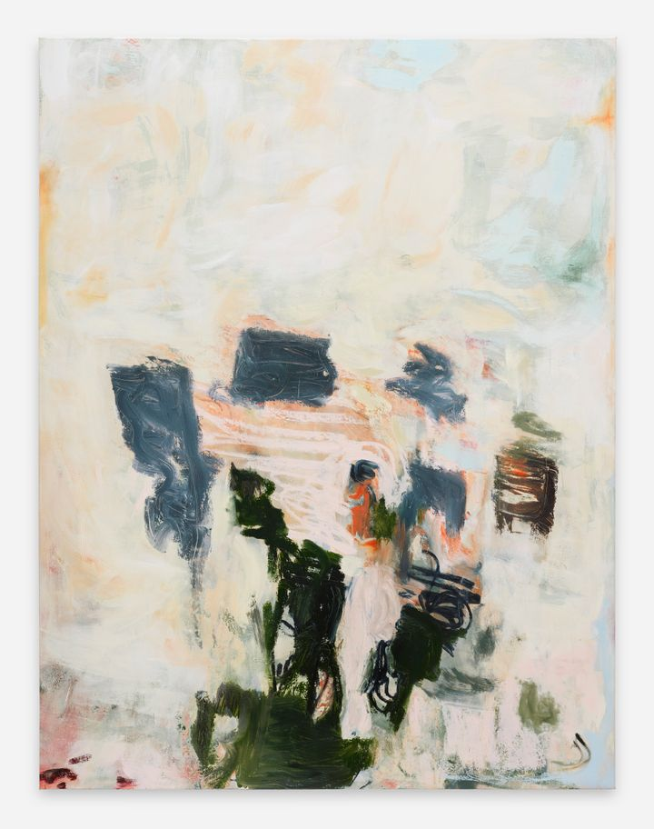 Megan Rooney, BONES ROOTS FRUITS (2021). Acrylic and oil stick on canvas. 199.6 x 152.3 x 3.5 cm. Courtesy © Megan Rooney and Thaddaeus Ropac.