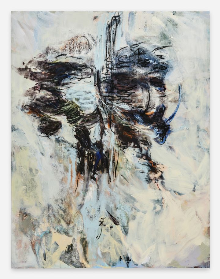 Megan Rooney, Up Torso (2021). Acrylic and oil stick on canvas. 199.6 x 152.3 x 3.5 cm. Courtesy © Megan Rooney and Thaddaeus Ropac.
