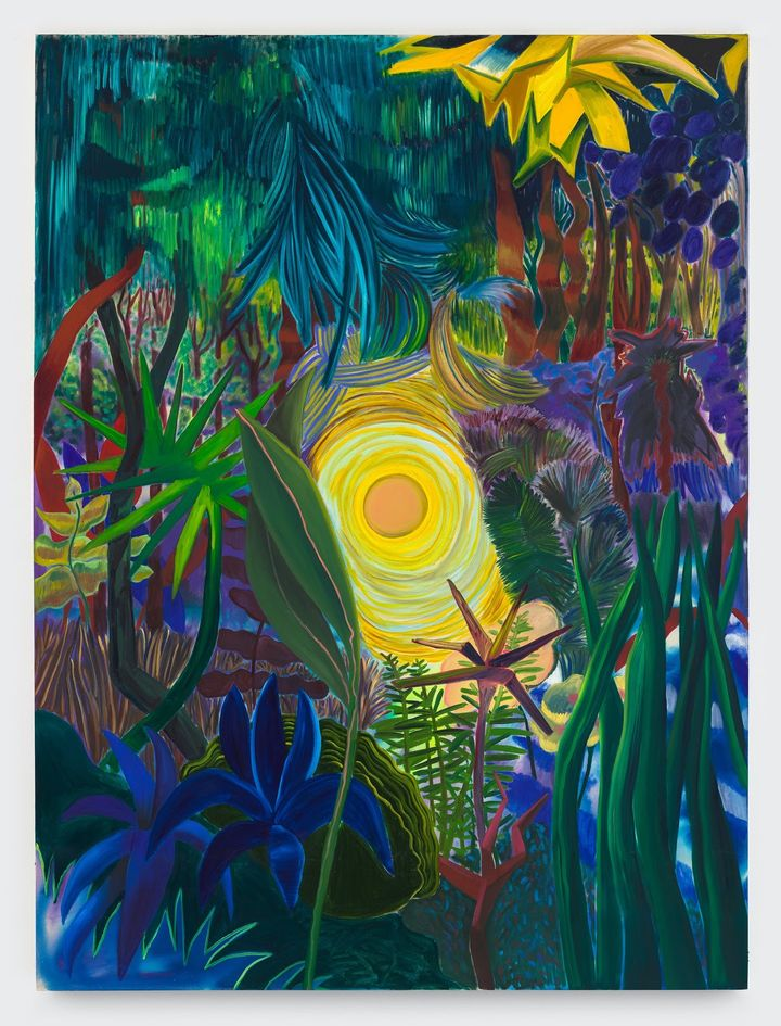 Shara Hughes, Centering and Strengthening (2021). Oil, acrylic and dye on canvas.