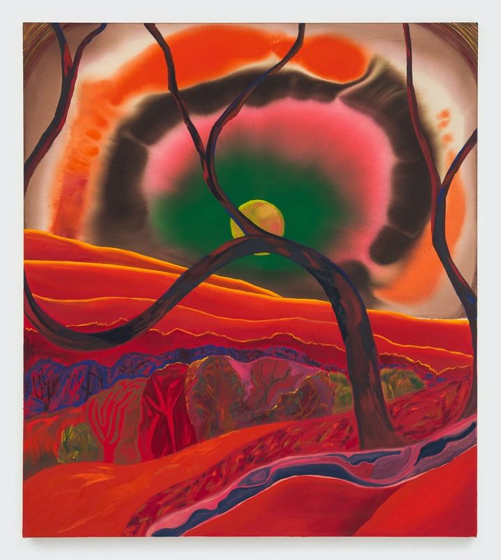 Shara Hughes, Sigh (2020). Oil, acrylic, and dye on canvas.