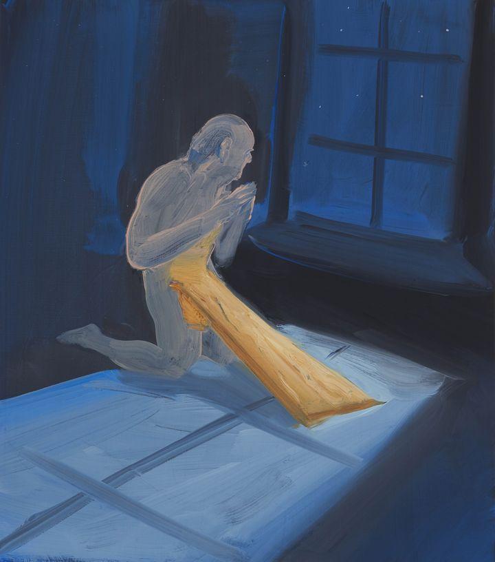 Tala Madani, Real Boy and Plank (2021). Oil on linen. 40.6 x 35.6 x 2.5 cm. Courtesy the artist and Pilar Corrias, London.