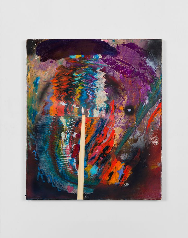 A painting by Van Hanos features an colourful, abstract background, with a realistic candle painted in the foreground.