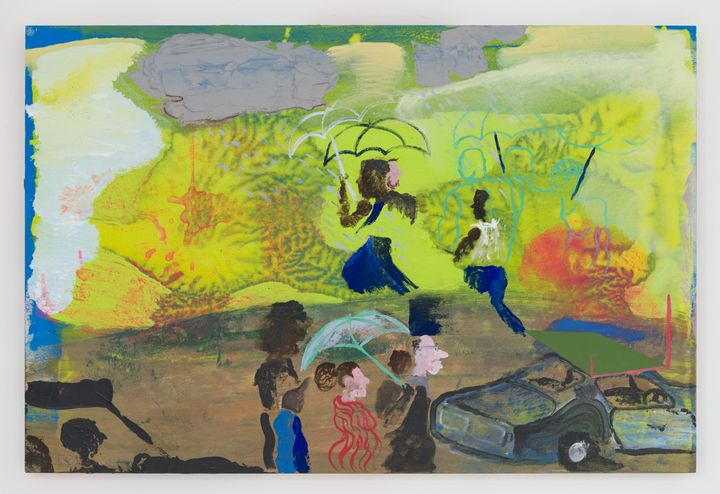 Walter Price, It has to rain before you can see where all the leaks are at (2019). Acrylic and vinyl on wood. 61 x 91.4 x 5.1 cm. Courtesy Greene Naftali.