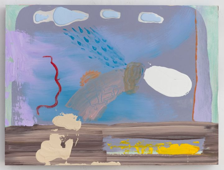 Walter Price, Hold the umbrella tight while viewing my rain (2020). Acrylic, gesso, and super white on wood. 45.9 x 61.1 x 5.1cm. Courtesy the artist, The Modern Institute/Toby Webster Ltd., Glasgow and Greene Naftali, New York.
