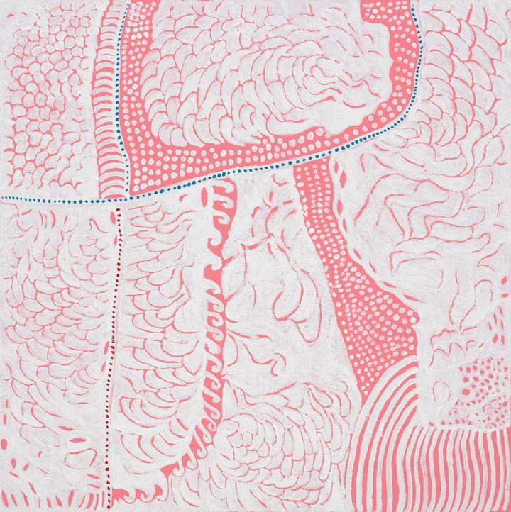 Yayoi Kusama, Longing for the Universe That Has Scattered So Many Hopes (2019). Acrylic on canvas. 100 x 100 cm. © Yayoi Kusama. Courtesy Ota Fine Arts and Victoria Miro.