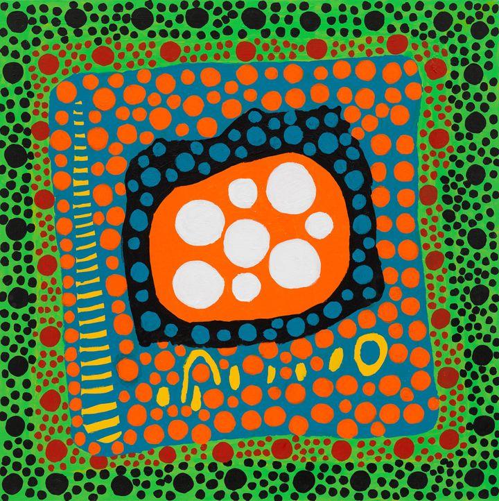 Yayoi Kusama, On Hearing the Sunset Afterglow's Message of Love, My Heart Shed Tears (2021). Acrylic on canvas. 130.3 x 130.3 cm. © Yayoi Kusama. Courtesy Ota Fine Arts and Victoria Miro.