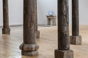 AI WEIWEI Pillar Foundation with Twenty‐Four Histories, 2015. Wooden box and partial texts from 'Twenty-Four Histories' on paper. Courtesy: the artist and GALLERIA CONTINUA, San Gimignano / Beijing / Les Moulins. Photo by: Oak Taylor-Smith