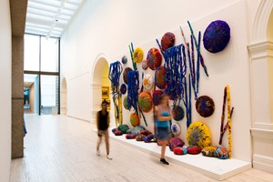 Sheila Hicks, 'The Embassy of Chromatic Delegates,' 2015–16. Courtesy the artist; Alison Jacques Gallery, London; and Sikkema Jenkins & Co., New York. Installation view at the 20th Biennale of Sydney (2016) at Cockatoo Island. Photographer: Ben Symons.