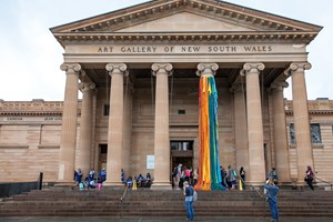 Sheila Hicks, 'The Embassy of Chromatic Delegates', 2015–16. Installation view of the 20th Biennale of Sydney (2016) at the AGNSW. Courtesy the artist; Alison Jacques Gallery, London; and Sikkema Jenkins & Co., New York. Photograph: Leïla Joy