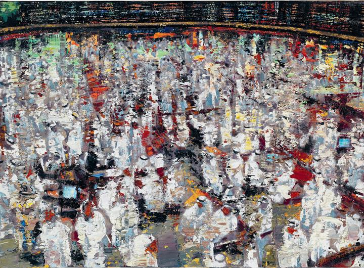 Massimo Giannoni, Borsa Dubai (2016).  Oil on linen. 40 × 55 cm. Courtesy the artist and Partners & Mucciaccia Modern & Contemporary Gallery, Rome/Singapore/London/Cortina D'Ampezzo.