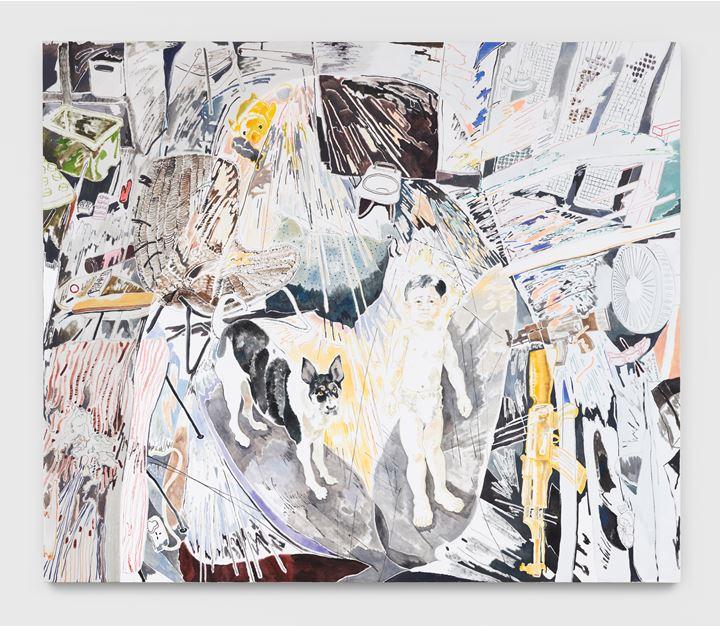 Chris Huen Sin Kan, Balltsz and Joel (2020). Oil on canvas. 220 x 260 x 5cm. Courtesy the artist and Simon Lee Gallery. © Chris Huen Sin Kan. Photo: Ben Westoby.