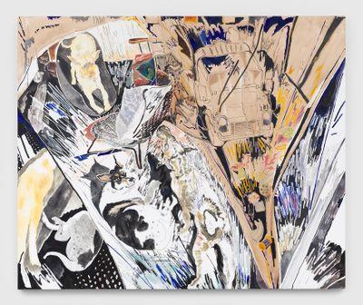 Chris Huen Sin Kan, Doodood, Balltsz and MuiMui (2020). Oil on canvas. 200 x 240 x 5 cm. Courtesy the artist and Simon Lee Gallery. © Chris Huen Sin Kan. Photo: Ben Westoby.