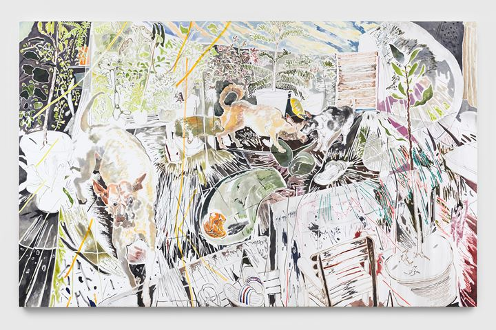 Chris Huen Sin Kan, Doodood, MuiMui and Balltsz (2020). Oil on canvas. 200 x 320 x 5 cm. Courtesy the artist and Simon Lee Gallery. © Chris Huen Sin Kan. Photo: Ben Westoby.