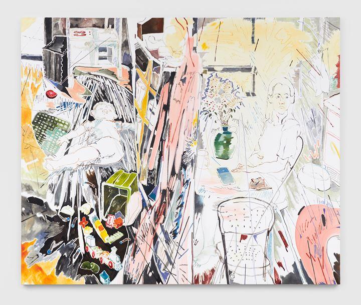 Chris Huen Sin Kan, Joel and Haze (2020). Oil on canvas. 200 x 240 x 5 cm. Courtesy the artist and Simon Lee Gallery. © Chris Huen Sin Kan. Photo: Ben Westoby.