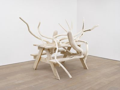 Hugh Hayden, Can't we all just get along (2020). Hornbeam with steel hardware and oak dowels. 206 x 362 x 254 cm. Exhibition view: American Food, Lisson Gallery, London (12 March–31 July 2020). © Hugh Hayden.