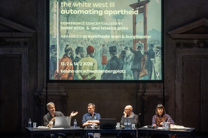 The White West III. Automating Apartheid, conference organised by Kunsthalle Wien in cooperation with Burgtheater (13-14 February 2020). Courtesy Kunsthalle Wien. Photo: Maximilian Pramatarov.