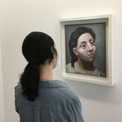 A spectator views a painting at the Picasso Museum in Paris in 2018.
