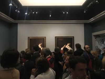 Caravaggio, Mary Magdalen in Ecstasy (1606) and replica. Exhibition view: Caravaggio: The Roman Period, Musée Jacquemart-André, Paris (21 September 2018–28 January 2019).