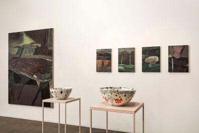 Paintings by Biraaj Dodiya and ceramic bowls by Faiza Butt on view in (ME)(MORY), Vadehra Art Gallery, New Delhi (20 January–24 February 2021).