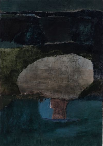 Biraaj Dodiya, Memory Cave (2020). Oil on linen. 50.8 x 35.56 cm.