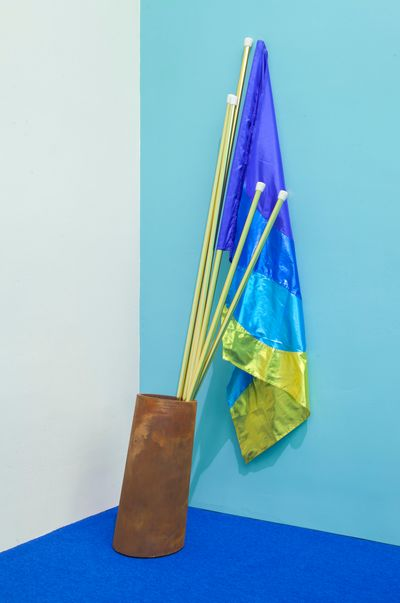 Samson Young, Possible Music #1 (2018). 3D-printed acrylic sculpture with soft pastel, four 3D-printed nylon sculptures with soft pastel and colored pencil, 3D-printed rose gold, two framed watercolour and soft pastel on paper, costume with wool thread, artificial flowers, lamé, polyester, and silk flag, feathers with dye, felt-tip pen on drumhead. Video with sound, 62 min 20 sec, silent video, 40 sec, 11-channel sound installation. Installation dimensions variable. Exhibition view: One Hand Clapping, Guggenheim Museum, New York (4 May–21 October 2018).