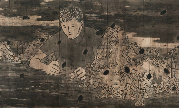 Lam Tung-pang, Reforming Landscape (2019). Ink, charcoal, and acrylic on plywood. 180 x 300 cm (triptych). Courtesy Blindspot Gallery.
