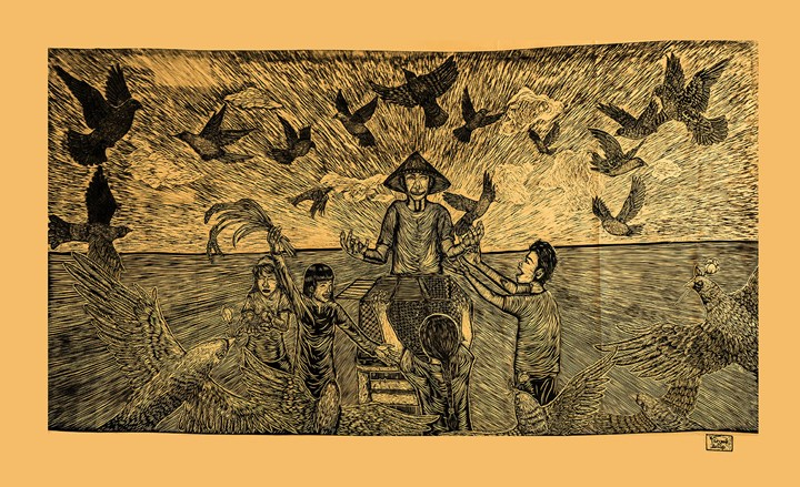 Pangrok Sulap, SEBARKAN CINTA (Spread the Love) (2017). Woodcut. Dimensions Variable. Courtesy the artist.