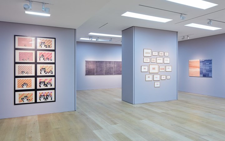 Exhibition view: Alighiero Boetti, Works on Paper 1967–1983, Ben Brown Fine Arts, London (9 June–20 September 2017). Courtesy Ben Brown Fine Arts, London.
