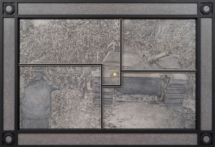 Richard Artschwager, Tank (1991). Formica and acrylic on fibre panel and wood, in painted wood and Formica artist's frame. 210.8 x 307.3 cm. © 2019 Richard Artschwager / Artists Rights Society (ARS), New York. Courtesy Gagosian. Collection: The Broad Art Foundation.