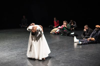 Performance by Dorothée Munyaneza as part of That, Around Which The Universe Revolves: On Rhythmanalysis of Memory, Times, Bodies in Space, SAVVY Contemporary—The Laboratory of Form-Ideas, Berlin (1 December–3 December 2017). Courtesy. Courtesy SAVVY Contemporary—The Laboratory of Form-Ideas. Photo: © Raisa Galofre.